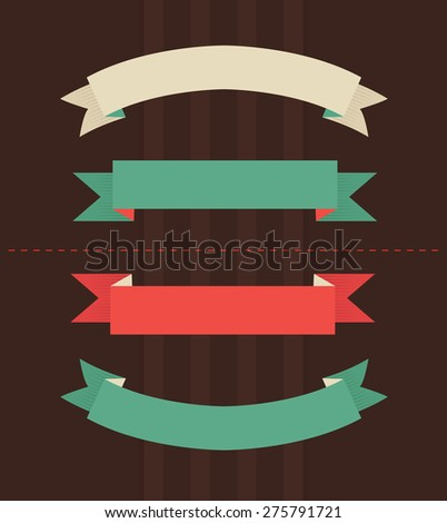 Vector illustration of vintage ribbons on brown background  - stock vector