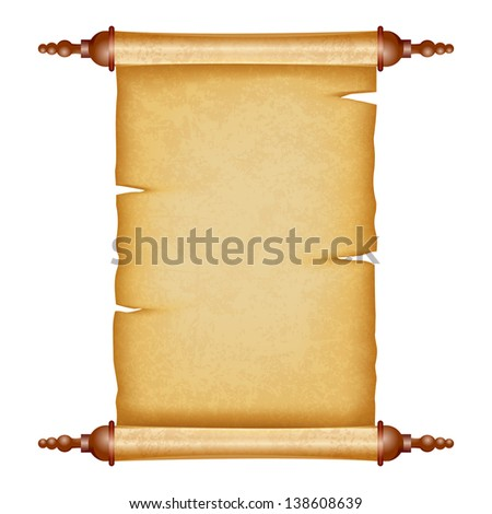 vector illustration of vintage scroll with antique paper - stock vector