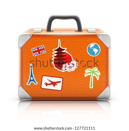 Vector illustration of vintage suitcase with funky stickers isolated on white background