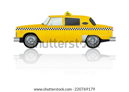 Vector Illustration of vintage yellow New York Taxi - stock vector