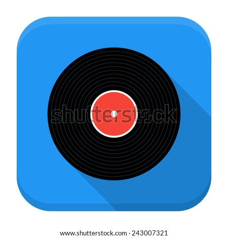 Vector illustration of vinyl record. Flat app square icon with long shadow. - stock vector