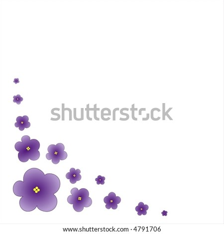 vector illustration of violets on white background - stock vector