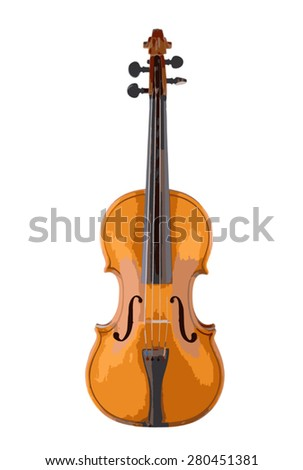 Vector illustration of violin isolated on white.