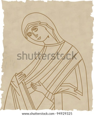 Vector illustration of Virgin Mary On Old Paper - stock vector