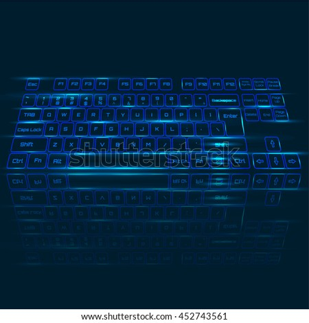 Vector illustration  of  Virtual keyboard in perspective view, glowing keys and reflection on dark blue background.  - stock vector