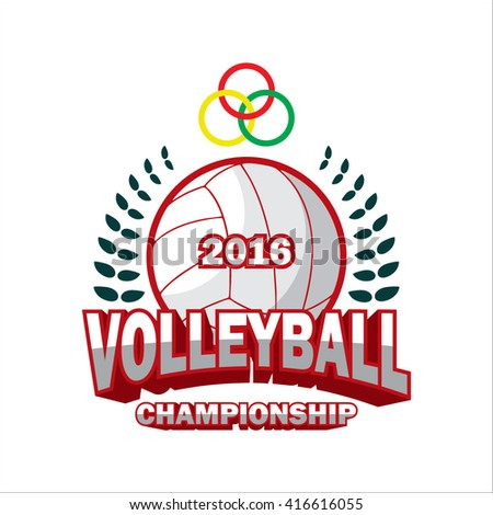 vector illustration of Volleyball Badge Logo Templates, Sport Shirt Graphics, volley ball competition tournament academy logo design - stock vector