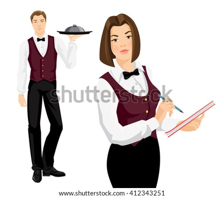 Vector illustration of waiter in formal clothes isolated on white background. Brunette woman takes an order.  - stock vector