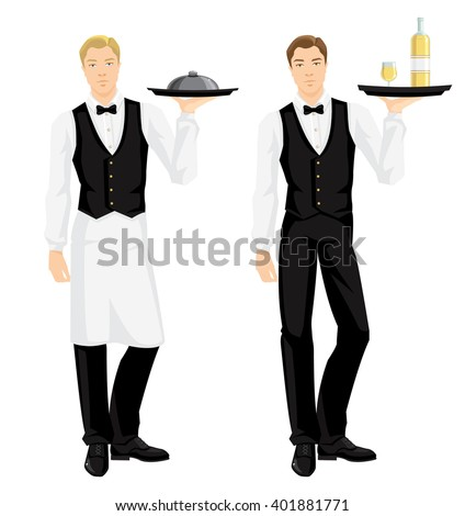 Vector illustration of waiter in uniform with tray isolated on white background.  - stock vector