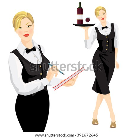 vector illustration of waitress  takes an order. - stock vector
