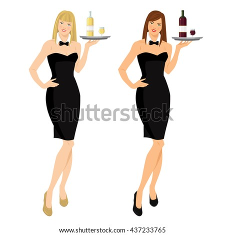 Vector illustration of waitress with red and white wine on tray. Pretty woman in formal black dress, white collar and tie - stock vector