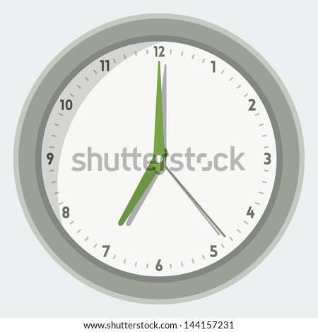 Vector illustration of wall clock in 'flat' style - stock vector