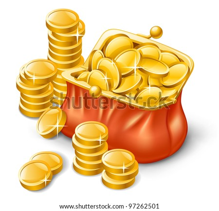 Vector illustration of wallet full of coins on white background - stock vector