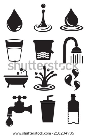 Vector illustration of water and its usages. Black and white isolated vector icon set. - stock vector