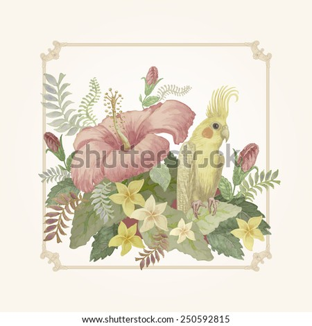 Vector illustration of  watercolor hand drawn  yellow bird with pink hibiscus flower and tropical foliage  on a light  background - stock vector