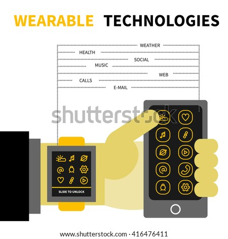 Vector illustration of wearable technology. Hand with smart watch and mobile phone. Flat design on isolated background. Concept for modern gadget and devices, internet of things.