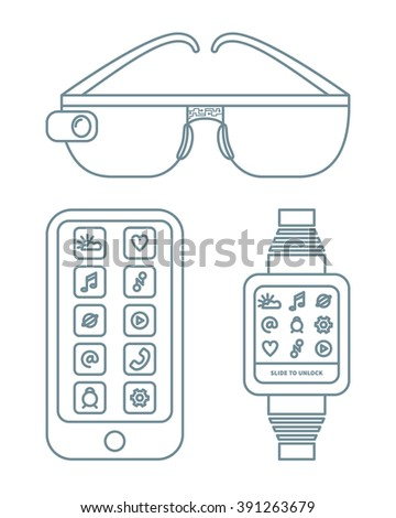 Vector illustration of wearable technology. Smart watch, smart glasses and mobile phone. Linear design on isolated background. - stock vector