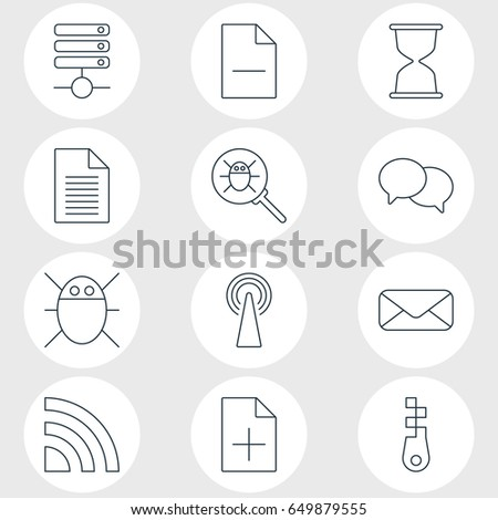 Vector Illustration Of 12 Web Icons. Editable Pack Of Computer Virus, Letter, Bug And Other Elements.