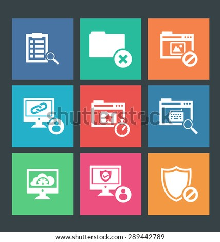 Vector illustration of web icons, flat style  - stock vector