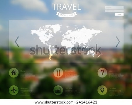 vector illustration of web, mobile interface template with blurry cityscape background. Corporate website page design.  Tourism, enjoy travel concept. Vector blurred cityscape.   - stock vector