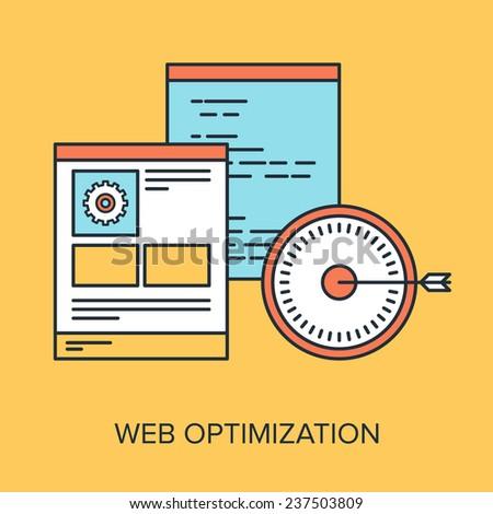 Vector illustration of web optimization flat line design concept. - stock vector