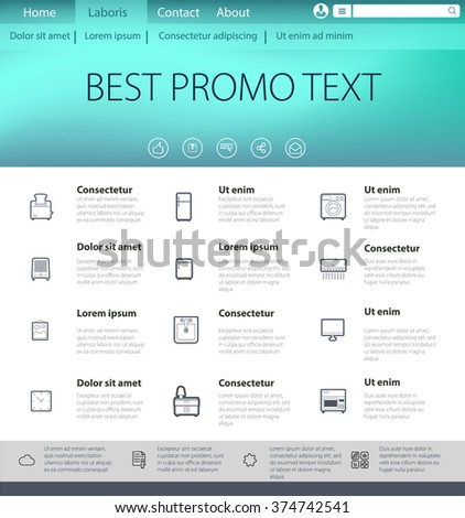 Vector illustration of web page template. The simple appearance of the home page for presentations or reports. Editable design, a lot of details. - stock vector