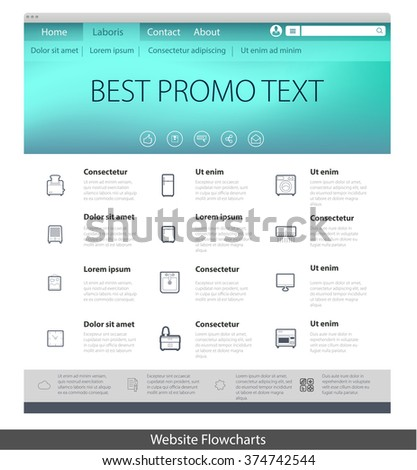 Vector Illustration Web Page Template Simple Stock Vector 374742544 ...