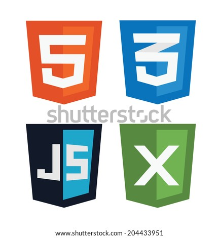 vector illustration of web shields, illustrating html5 icon, css3, javascript and xml technologies, isolated web site development icon set on white background - stock vector