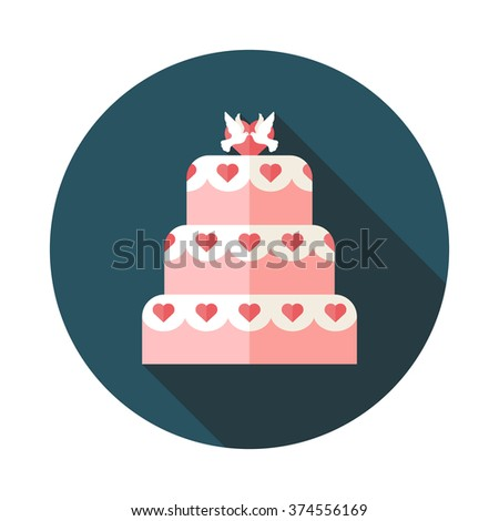 Vector illustration of Wedding cake style flat
