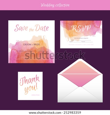 Vector illustration of Wedding collection with watercolor - stock vector