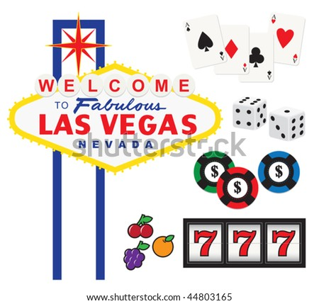 Vector illustration of Welcome to Fabulous Las Vegas sign and gambling elements including cards, dices, chips, and slot machine. - stock vector