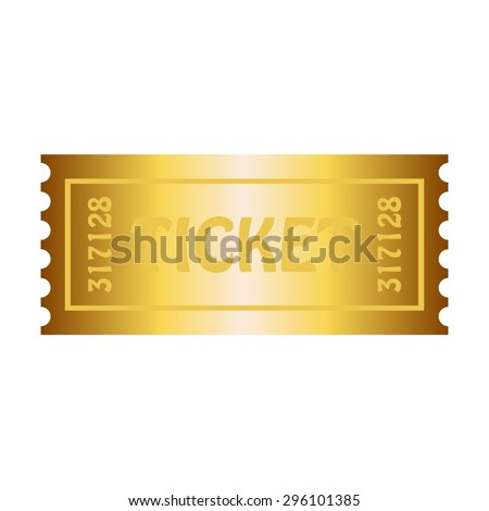 Vector illustration of White background. Gold ticket. - stock vector