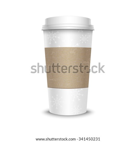 Vector illustration of white coffee cup with snowflakes and cardboard cover, isolated on white background. Ideal for winter design. - stock vector