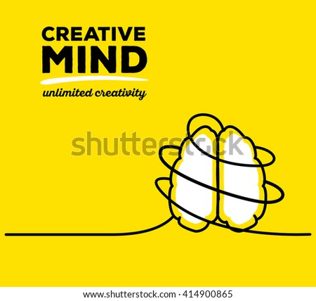 Vector illustration of white color brain with black wire and text on yellow background. Unlimited creativity concept. Thin line art flat design of brain for idea and creative mind theme - stock vector