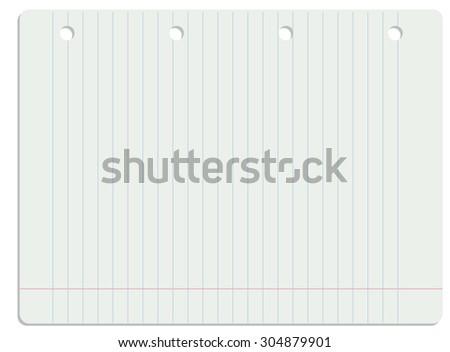 Vector illustration of white lined school paper sheet. - stock vector