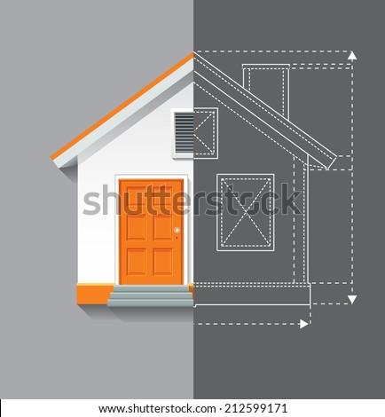 Vector illustration of white orange house on grey background. Half blueprint plan line. - stock vector