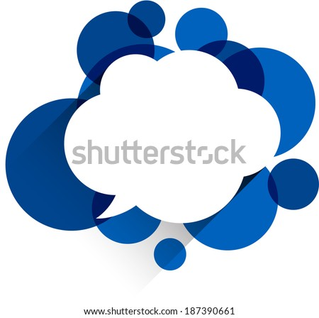 Vector illustration of white paper cloud speech bubble over blue background. Eps10. - stock vector