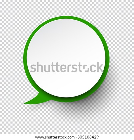 Vector illustration of white paper round speech bubble with shadow. Eps10. - stock vector