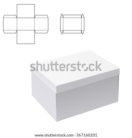 Vector Illustration of White Product Cardboard Package Box for Design, Website, Banner. Mockup Element Template for Your Brand or Product. White box Isolated on White Background - stock vector