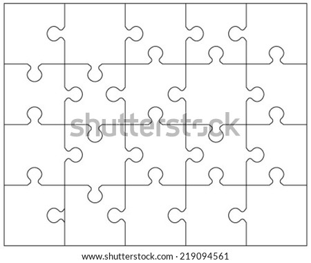 Vector illustration of white puzzle 2, separate pieces - stock vector