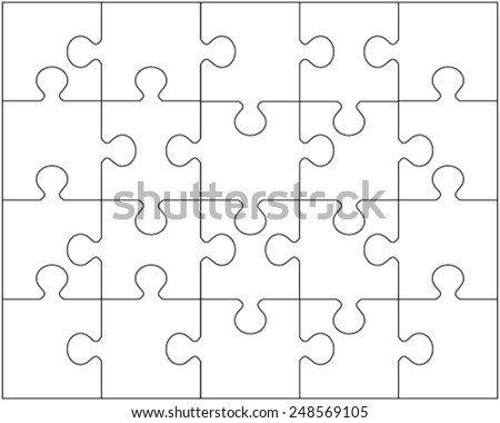 Vector illustration of white puzzle 2, separate pieces