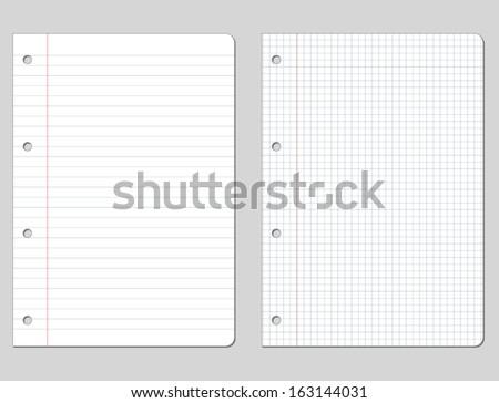 Vector illustration of white school paper - stock vector