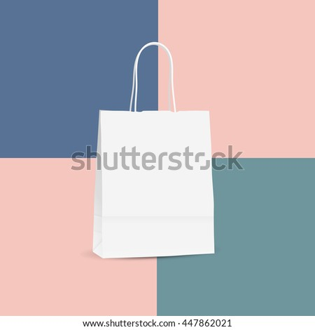 Vector illustration of white shopping paper bag isolated on colored background - stock vector