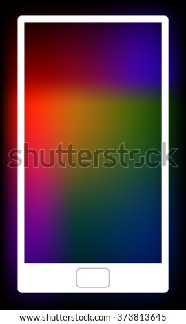 Vector illustration of white smartphone. Blurred colorful background with copyspace