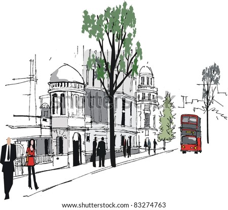 Vector illustration of Whitehall, London with red bus. - stock vector