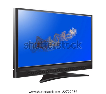 vector illustration of widescreen LCD isolated on white - stock vector
