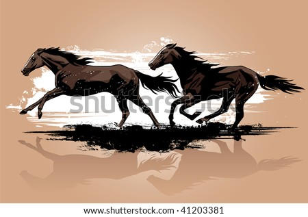 Vector illustration of wild horses running