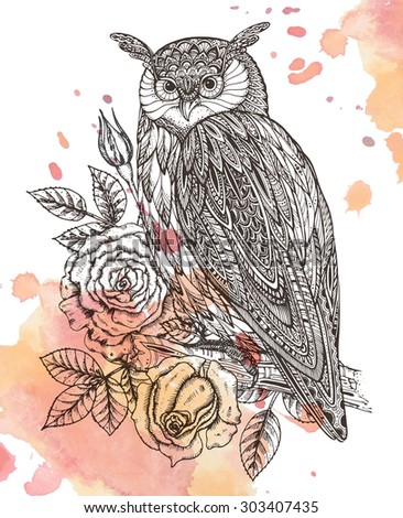 Vector illustration of wild totem animal - Owl in ornamental graphic style with roses, leaves. Watercolor background - stock vector