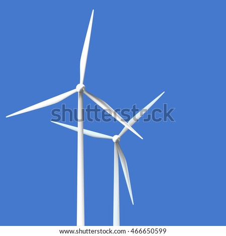 Vector illustration of wind turbines on clear blue background