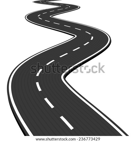 Vector Illustration of winding abstract asphalt road isolated on white background - stock vector