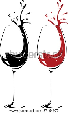 Vector  illustration of wine glass. Red, black and white. - stock vector
